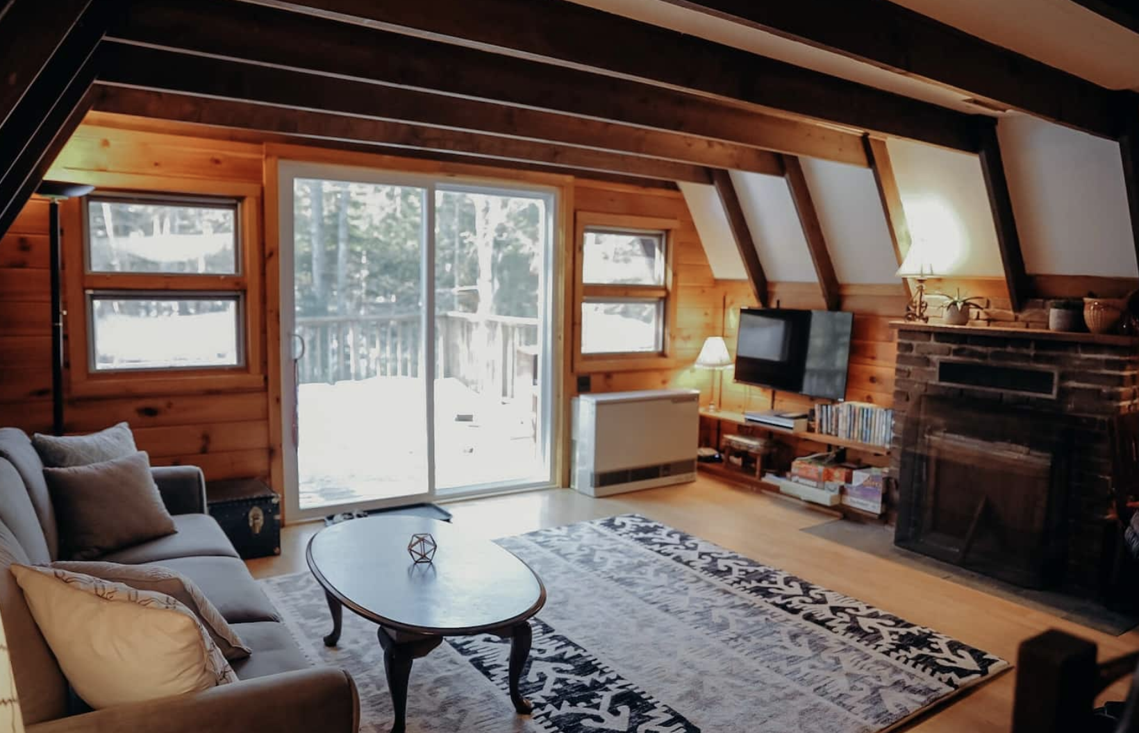 Warm Pine A-frame Nestled In The Trees! from airbnb post by Nicole Eva travel post