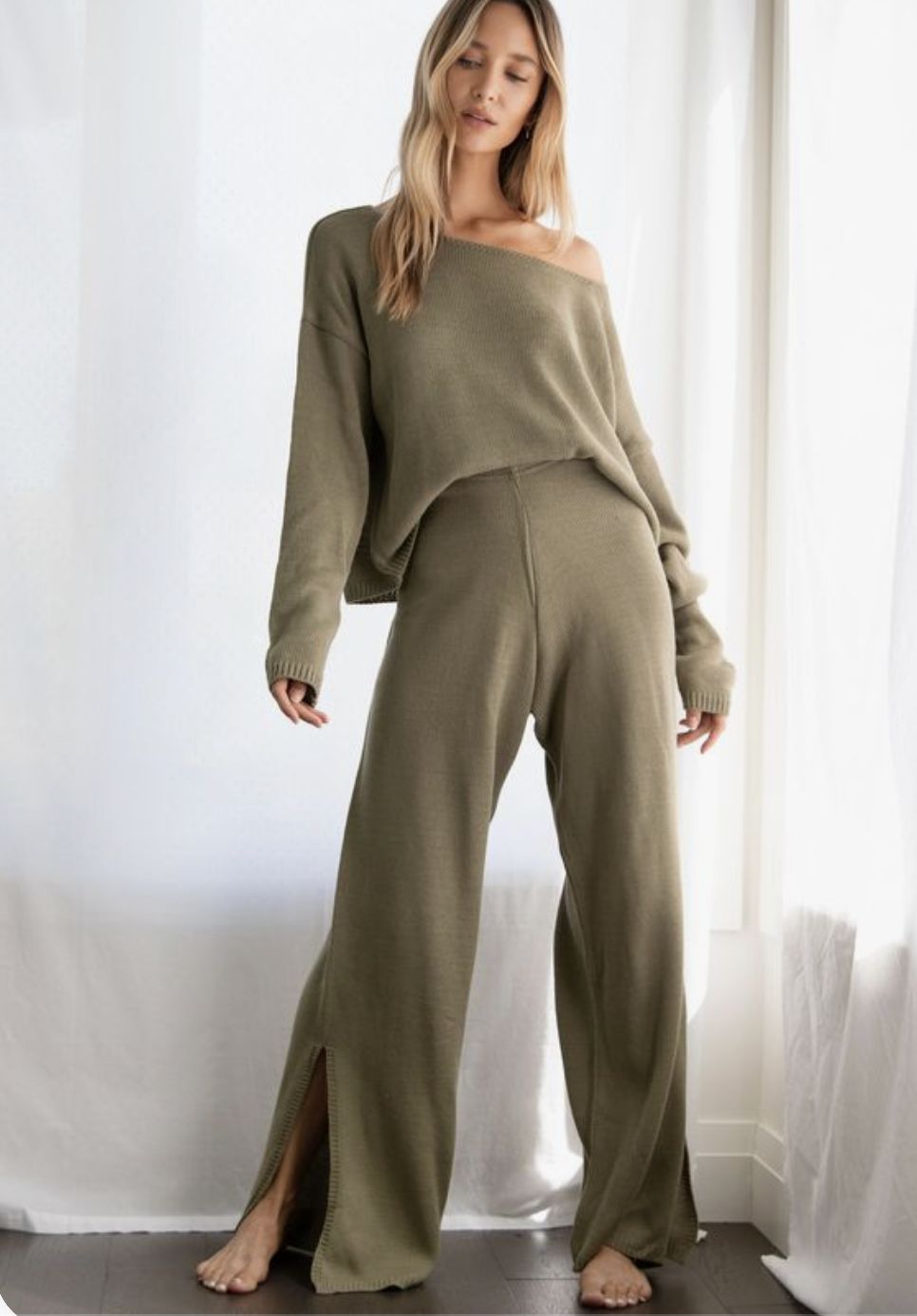 girl modeling olive green sweat suit outfit for Nicole Eva post ideal look book in late 20s